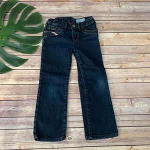 Diesel girl's straight leg jeans with leather trim